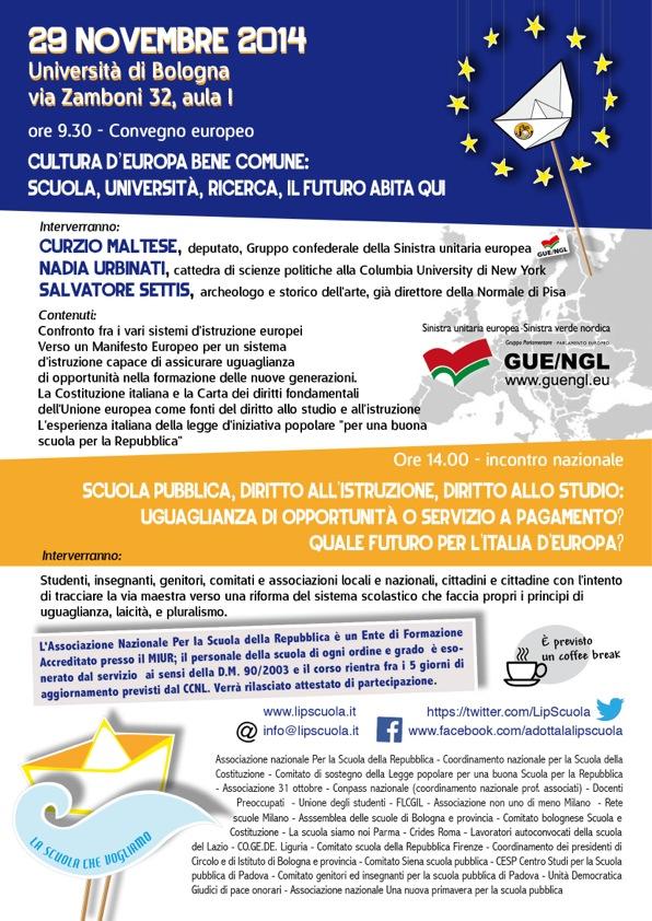 Vivalascuola. Convegno. Cultura d'Europa bene comune: scuola, università, ricerca, il futuro abita qui
